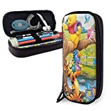 Winnie The Pooh Pencil Case Big Capacity Double Zipper Pen Holder Office Supplies Cosmetics Documents Daily Essentials