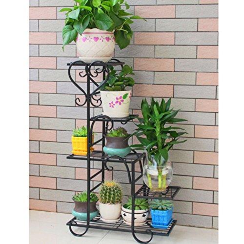 Porte-fleurs à plusieurs étages en fer à repasser Vert Radis Plateau à fleurs en forme de balcon laqué Multi-Viandes Salon Pots de sol intérieurs (Couleur : Noir)