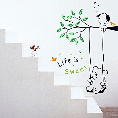 Winhappyhome Winnie BalançOire Art Stickers Muraux pour Enfants Chambre Backdrop Salon Nursery Amovibles DéCor Stickers