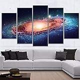 lcyfg Cuadros Decoracion SalonOn Wall Art Decoración para el hogar Imágenes Impresas 5 Piezas Universo Espacio Nebulosa Starry Sky Planet Poster Marco