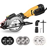✨【Powerful and Compact 】The Circular Saw with power of 750 W(Corded Electric) and a speed 3600 RPM, ideal for cutting wood, metal, tiles, plywood and plastic. Soft rubber handle, perfect for one-handed operation and reduce fatigue ✨【Laser Guide and P...