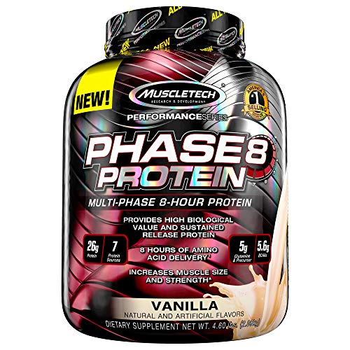 Whey Protein Powder   MuscleTech Phase8 Protein Powder   Whey & Casein Protein Powder   Slow Release 8-Hour Protein   Muscle Builder for Men & Women   Protein Powder for Muscle Gain   Vanilla, 4.6 lbs