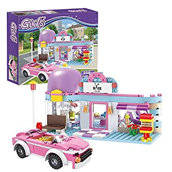 BRICK STORY Girls Friends Hair Salon Building Kit with 2 Mini People 5 Dolls Hair Creative Girls Friends Sets 358 Pieces with a Pink Convertible Car STEM Building Toys Gifts for Kids Age 6-12 and Up