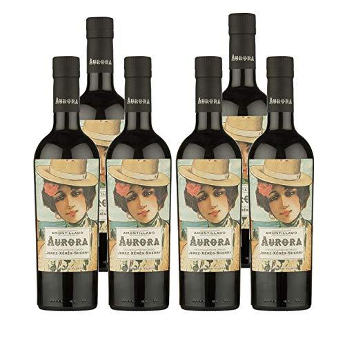 Vino Amontillado Aurora de 50 cl - D.O. Jerez-Sherry - Bodegas Yuste (Pack de 6 botellas)