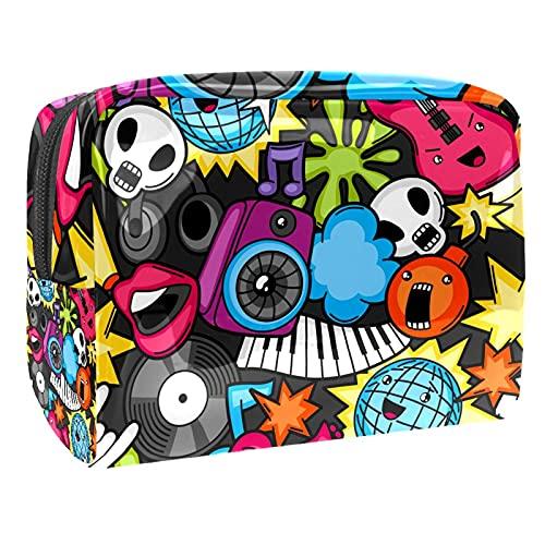 Bolsa de transporte con cremallera, bolsa de maquillaje portátil para vacaciones, baño y organización (hojas pintadas a mano, color coral piña), Music Skull Star Cool, 18.5x7.5x13cm/7.3x3x5.1in,