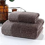 Juego de toallas de algodón puro, 1 toalla de mano (34 cm x 75 cm) 1 toalla de baño (140 cm x 70 cm) Algodón peinado...