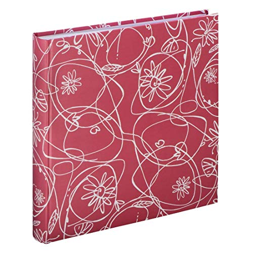 Hama Decori II Fotoalbum met 100 witte pagina's, voor 400 foto's in het formaat 10x15, bloemenranken patroon, 30x30, XXL Fotoboek flamingo-rood