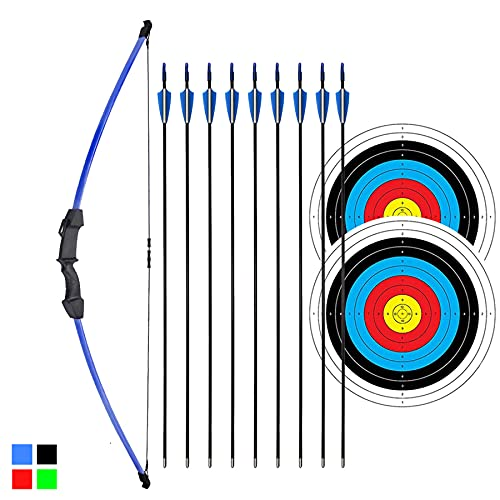 iMay 45' Recurve Bow and Arrows Set Outdoor Archery Beginner Gift Longbow Kit with 9 Arrows 2 Target Face Paper 18 Lb for Teens (Blue)
