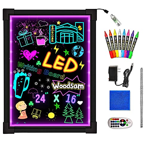 Woodsam LED Drawing Painting Board - 24' x 16' Erasable Non Porous Glass Surface with 8 Fluorescent Window Markers-Best for Chalkboard Blackboard Whiteboard Bulletin/Letter/Spelling/Display/Menu Board