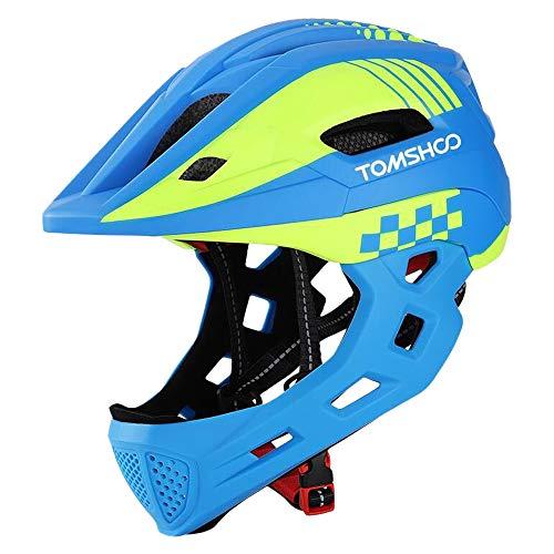 TOMSHOO Kinderfahrrad Integralhelm Kindersicherheit Skateboard Rollerblading Helm Sport Kopfschutz mit Rücklicht und abnehmbarem Kinn(Rot schwarz)