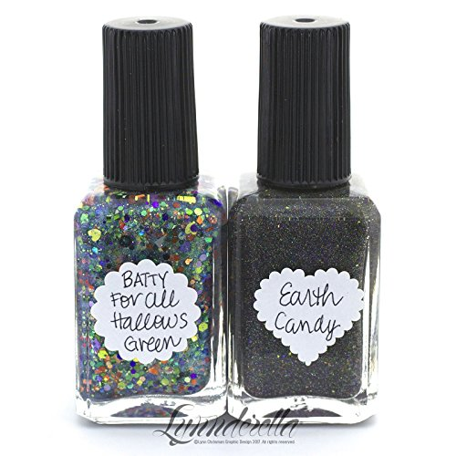 Lynnderella Nail Polish Halloween Twinset 2017—Batty for All Hallow's Green and Earth Candy