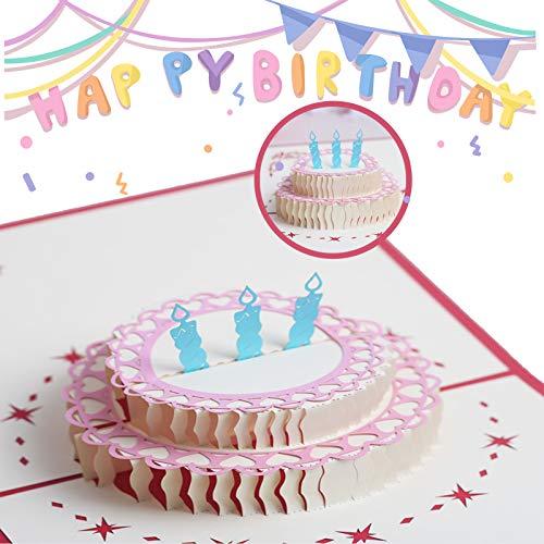 Tarjeta Felicitación Cumpleaños Tarjeta de cumpleaños Regalo Tarjeta de Cumpleaños Pop Up 3D, para La Familia Niños Amigos Amante de San Valentín Feliz Cumpleaños Aniversario (Pastel de cumpleaños)