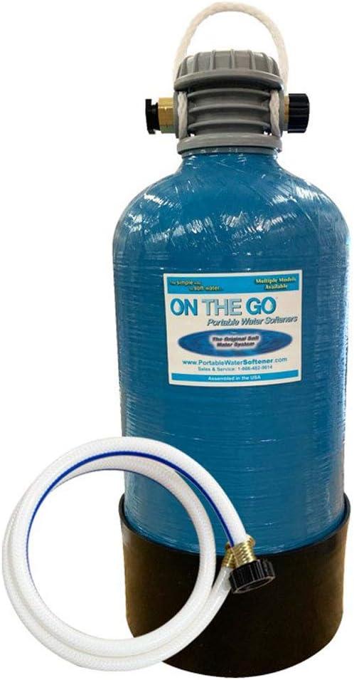 On The Go OTG4-VM-DBLSOFT Portable Compact Double Standard 16,000 Grain Water Softener w/Brass Fittings, Back-Flush Adapter for RV/Marine Models