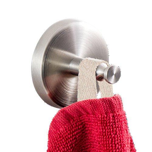 Badserie FIRENZE - Handtuchhaken, Handtuchhalter 2er Set | robuster Edelstahl matt | zur Wandmontage inklusive Schrauben | auch zum Kleben geeignet - separat erhältlich