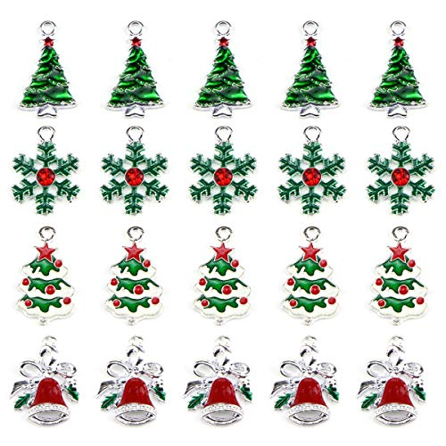 Christmas Tree Snowflake Jingle Bell Enamel Charm Pendant Christmas Theme Collections Jewelry DIY Making Crafting Accessories for Necklace Bracelet Earring(20 Pcs Assorted)