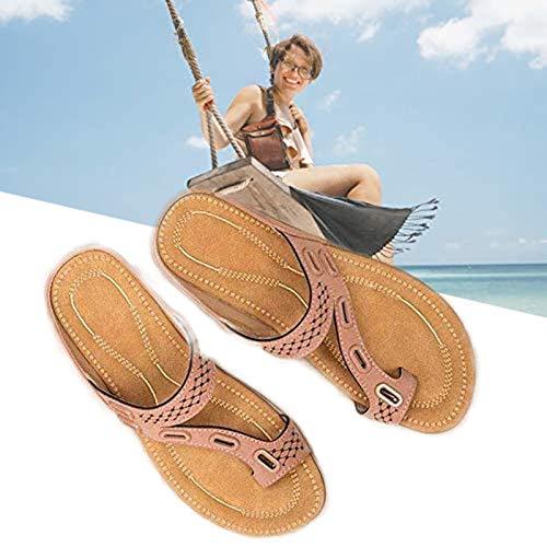 SHUIZHUYU Zapatillas OrtopéDicas SeñOra,Sandalias de corrección de Hueso de Dedo Gordo para Mujer, Sandalias ortopédicas de juanete Corrector con Soporte de Arco Zapatillas Romanas 38 Pink