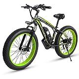 XXCY Bicicleta Eléctrica S02, 1000w 15ah 26 '' E-Bici Eléctrica De La Montaña De La Nieve De La Bici De Montaña (Verde)