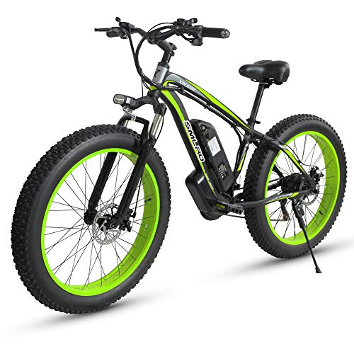 Bicicletta elettrica da Uomo E-Bike Fat Snow Bike 1000W-48V-13Ah Li-Batteria 26 * 4.0 Mountain Bike MTB Shimano 21-velocità Freni a Disco Intelligent Electric Bike (02verde)