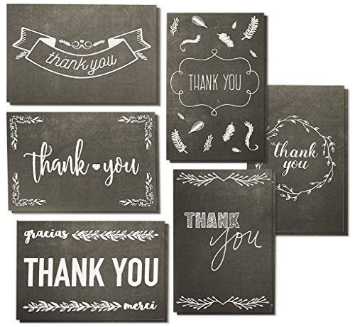 144-Pack Thank You Cards with Envelopes, 6 Assorted Black & White Chalkboard Designs, Bulk Note for Graduation, Baby Shower, Birthdays, 4 x 6 Inches