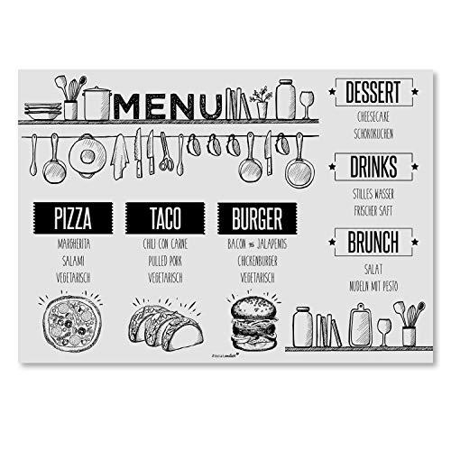 100 Tischunterlagen mit Menü-Motiv I DIN A3 eckig I Platzset aus Papier in grau schwarz, vintage Design I Einweg Tischset I dv_122