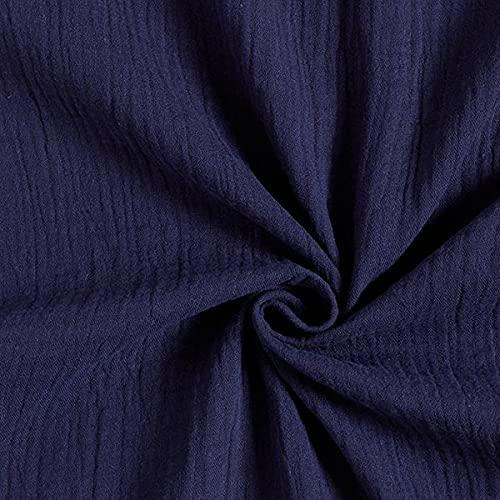 Tula Muselina/doble arruga GOTS – azul marino — Mercancia al metro a partir de 0,5m — GOTS - organic CU1016503 & Oeko-Tex Standard 100 Clase del producto I