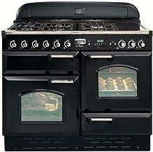 Falcon Classic 110 Range Cooker - Cocina de gas, color negro cromado - estufa y estufa (estufa, Negro, Cromo, Botones, Hígado, Delantero, Electrónico, Gas Horno)