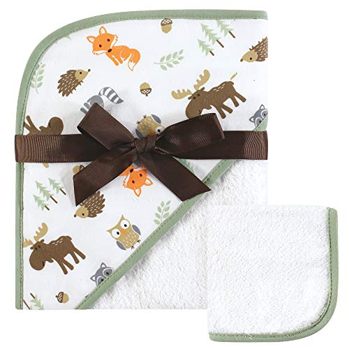 Hudson Baby Unisex Baby Cotton Hooded Towel and Washcloth, Woodland, One Size