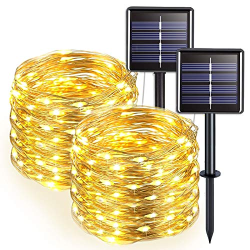 JMEXSUSS 2 Pack Solar Christmas Lights Warm White, 100 LED Solar String Lights Outdoor Waterproof, 8 Modes Silver Wire Solar Fairy Lights for Xmas, Patio, Yard, Tree, Garden, Wedding, Party