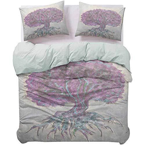 UNOSEKS LANZON - Juego de ropa de cama con diseño de plantas antiguas con diseño de Bokeh Majestic Roots Nature multiusos ultra suave y fácil de cuidar, color gris, morado, tamaño Queen