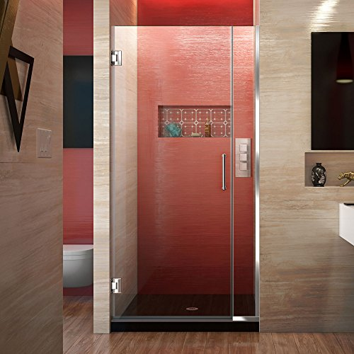 DreamLine Unidoor Plus 34 1/2 - 35 in. W x 72 in. H Frameless Hinged Shower Door in Chrome, SHDR-243457210-01
