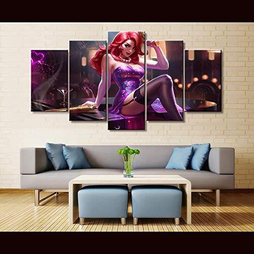 vvff Cuadros modulares decoración del hogar Arte de Pared Impresiones en Lienzo Pintura 5 Piezas póster de Juego de League of Legends para Sala de Estar Modular