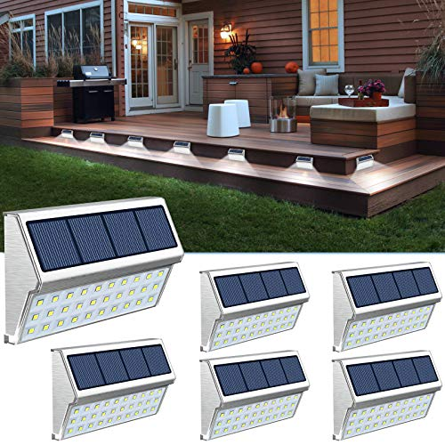 ROSHWEY Solar Step Lights Outdoor 30 LED Stainless Steel Stair Solar Lamps Waterproof Deck Lighting for Walkway Stairs (Pack of 6, Cool White Light)