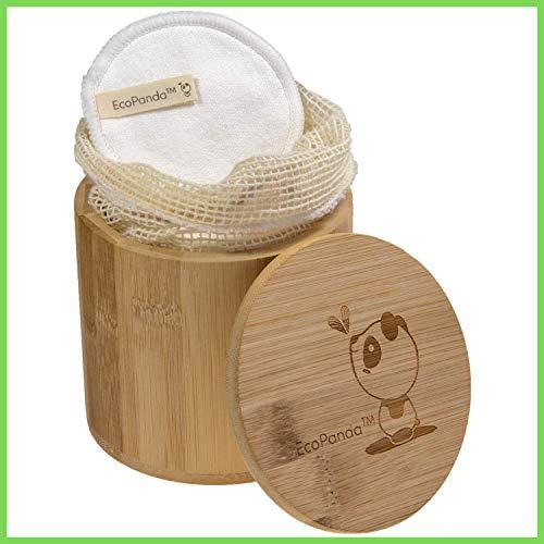 Coton Demaquillant Lavable - 18x, Carré Demaquillant Lavable, Cotons Demaquillants Lavables, Kit Zero Dechet, Tampons Démaquillants en bio Bambou, EcoPanda