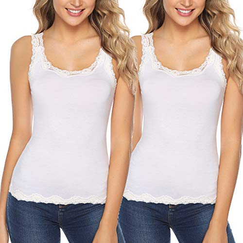 Abollria Damen Tanktop Baumwolle Basic Spitzentop Weich Stretch Unterhemd(2er-Pack) mit zarter Spitze,2xweiß,XXL