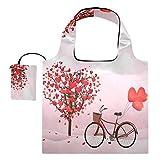 Bolsas de compras reutilizables para el día de San Valentín para bicicleta plegable grandes y ligeras bolsas de tela de reciclaje con bolsa