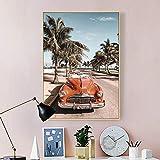 DSGTR Exposición de Pintura de fama Mundial impresión de Lienzo Artesanal/autobús Urbano Rosa Pintura Mural de Palma y Paisaje nórdico/diseño Simple Abstracto de Gran tamaño para habitación de ni