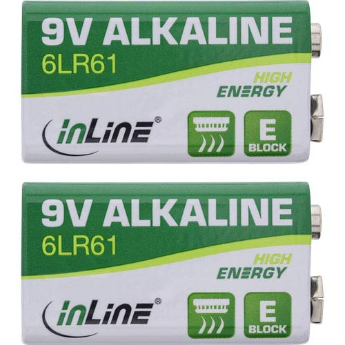InLine Alkaline High Energy Batterie - 9V Block 6LR61-2er Blister, 01299