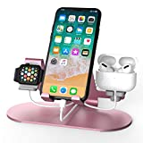 3 in 1 Aluminum Charging Station for Apple Watch Charger Stand Dock for iWatch Series SE/6/5/4/3/2/1, iPad, AirPods Pro/2/1 and iPhone 12/11/Xs/X Max/XR/X/8/ 8P/7/7P/6S/6S(Rose Gold)