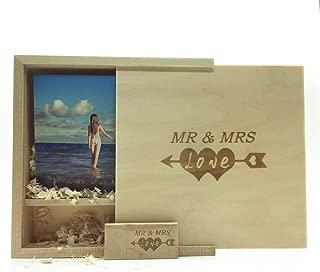 LXSINO Memoria USB de madera con láser grabada por Mr & Mrs Design - Memoria USB de memoria USB de madera de 32 GB con caja de madera para fotografía (170 * 170 * 35 mm) para novia, novio (Maple)