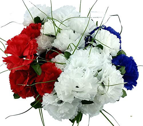 MM TJ Products Artificial Carnations Bushes. 7 Stems Pack of 4 Bushes (Blue/White/Red)