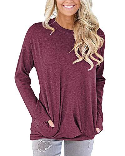AUSELILY Damen Pullover Sweatshirts Casual Rundhalsausschnitt Langarm Shirt Tunika Tops Baggy Bequeme Oberteile Bluse mit Taschen(Mauve,M)
