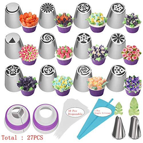 27pcs Russian Piping Tipps Backzubehör Set Cake Decorating Tipps für Cupcake Cookies Geburtstagsfeier, 12 Icing Tipps, 2 Leaf Piping Tipps, 2 Koppler, 10 Gebäckbackbeutel (27)