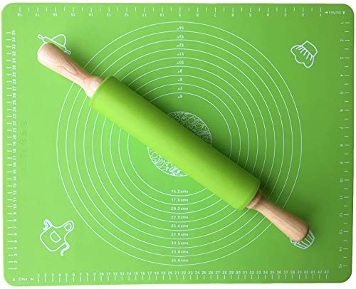 Rolling Pin - Nonstick Silicone Rolling Pin 16.9'' - Thick Large Nonstick Silicone Pastry Mat 20'' X 16'' for Baking and Rolling Dough