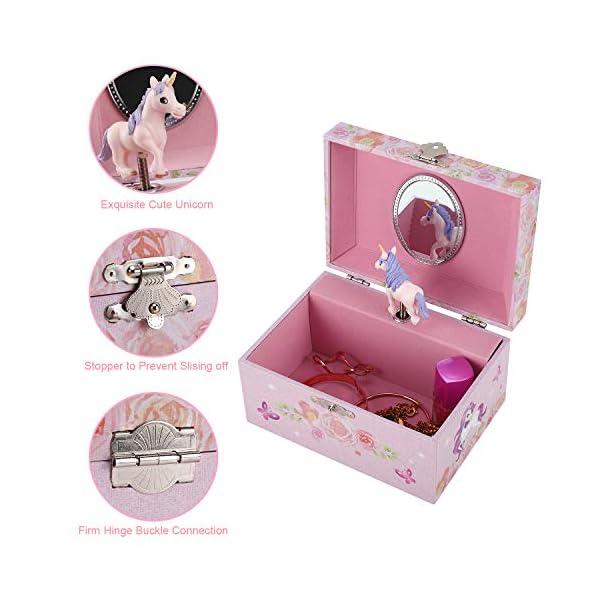 TAOPU Sweet Musical Jewelry Box with Spinning Cute Unicorn Figurines Music Box Jewel Storage Case for Girls 4