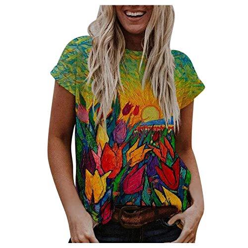 Janly Clearance Sale Camisa de manga corta para mujer, informal, bohemio, estampado floral, manga corta, holgada, blusa de color liso, para Pascua, San Patricio Ofertas (rojo-M)