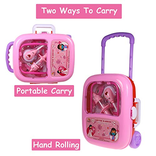 WISHKEY Plastic Doctor Kit Toy with Pink Trolley Suitcase On Wheels with Light and Sound Effects, Life Like Medical Kit for Kids & Toddlers ( Pack of 17, Pink)