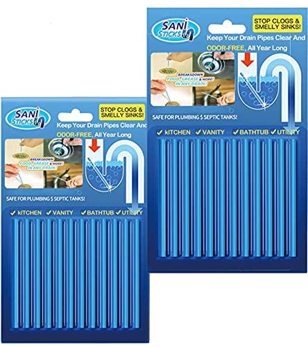 WOKUSEY 24pcs (2 paquetes) Cleaning Sticks, Tratamiento Aontra Malos Olores en Tuberias y Coladeras, Palillos para Desagüe, Limpiador de Desagües, para Todos Fregadero Ducha...