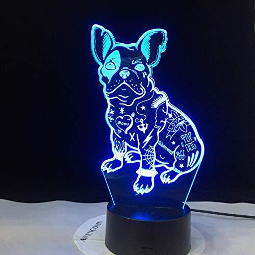 jiushixw nachtlampje van acryl 3D met afstandsbediening tafellamp in Franse kleur schattige liefde Puppy Desktop cadeau voor kinderen IKEA