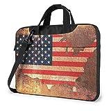 Bolsa para computadora portátil, Tableta, Mapa de la Bandera Estadounidense, maletín para computadora portátil, Bandolera para computadora, para Negocios, Informal o Escolar