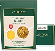 VAHDAM, Turmeric + Ginger POWERFUL SUPERFOOD Blend (100+ Cups) I CAFFEINE FREE Herbal Tea   POWERFUL Wellness & Healing TURMERIC for IMMUNITY   100% NATURAL   Try COLD BREW or Hot Tea with Milk   7 oz